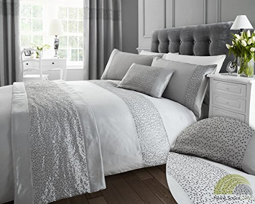 Silver Sequined Double Quilt Duvet Cover and 2 x Pillowcase Bedding Bed Set Modern Luxury Glamour
