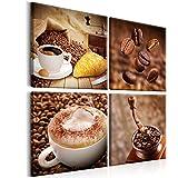 murando® Bilder Kaffee 40x40 cm LEINWAND AUFGESPANNT AUF SPANNRAHMEN - VLIES LEINWAND - 4-teilig - Wandbild - Bild - Kunstdruck - Canvas – Coffee Küche braun 030107-1