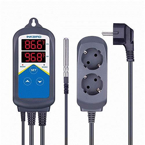 Inkbird 220V ITC-306T Heizung Temperatur Regler, LCD Display Thermostat mit Steckdose, Dualzeitzykluseinstellung für 24 Stunden -