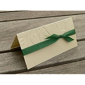 Tischkarte Namenskarte runder Geburtstag 40 50 60 70 75 80 90 100 Blätter Äste dunkelgrün tannengrün grün