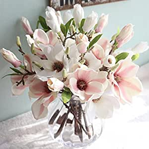 """Outtop 14.5"""" Artificial Magnolia Flowers Bouquets Fake Flower White_B"""