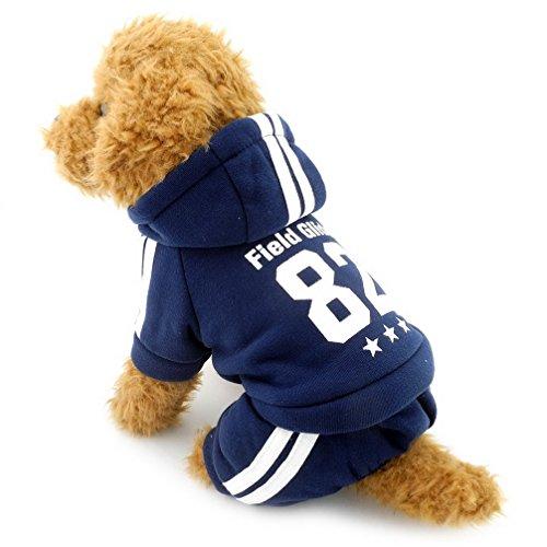 ranphy Kleiner Hund Winter Overall Sport Outfits Fleece gefüttert Sweatshirt Mantel Print Haustier Kleidung -
