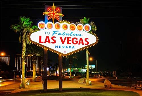 Cassisy 3x2m Vinyl Las Vegas Fotohintergrund WILLKOMMEN bei Fabulous LAS Vegas Nevada Sign Witz Nacht Fotoleinwand Hintergrund für Fotostudio Requisiten Party Photo Booth -