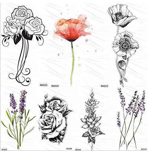 ruofengpuzi Sweet PEA Sketch Rose Leaf Tätowierungsaufkleber Kamelie Fake Tattoo Sticker Schwarz Benutzerdefinierte Tattoo Art Arm Handgelenk Wasserdicht