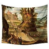 Wandteppich Wand Hängende Landschaft Malerei Mandala Indische Tapisserien Hippie-Print, Tapestry Picknick Strand Tisch Tuch Zu Hause Dekor,C,150 * 200Cm