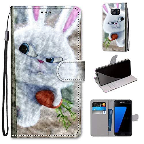 Miagon Flip PU Leder Schutzhülle für Samsung Galaxy S7,Bunt Muster Hülle Brieftasche Case Cover Ständer mit Kartenfächer Trageschlaufe,Hase Karotte