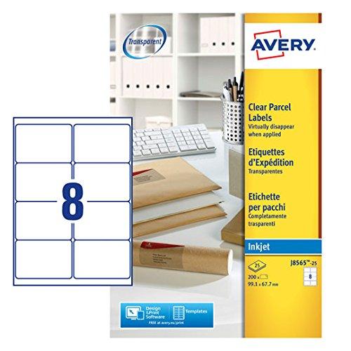 Avery J8565-25 Adressetiketten (8 Etiketten pro Blatt, 99,1 x 67,7 mm) 200 Stück transparent (Avery Adressetiketten Inkjet)