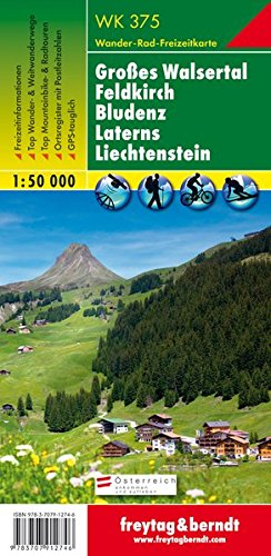 WK 375, Großes Walsertal - Feldkirch - Bludenz - Laterns - Liechtenstein, Wanderkarte 1:50 000, freytag & berndt Wander-Rad-Freizeitkarten (375 Kugel)