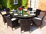 Royal Grey Rattan Dining Set Large Oval Table With Large Lazy Susan and 8 Carver Chairs