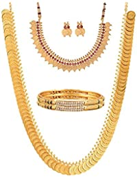 Zeneme Gold Plated Brass Bangles, Long Traditional Maharani Temple Coin And Red Temple Coin Necklace Set For Women