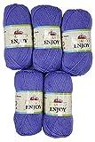 Enjoy 5 x 100 Gramm Himalaya Strickwolle, 50% Bambus, 500 Gramm Wolle (Flieder)