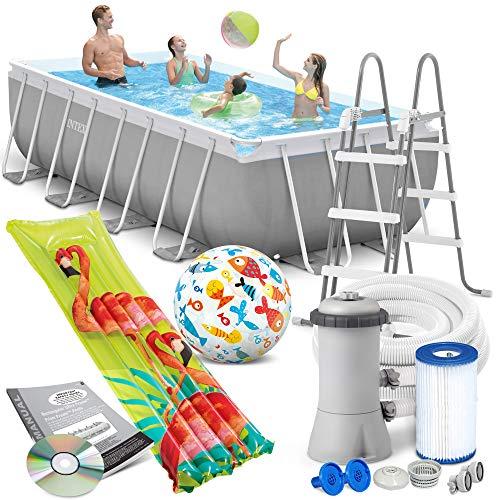 Intex Prism Frame Swimming Pool 400x200x100 cm Rechteck Stahlwand Leiter & Pumpe 26788 Komplett-Set mit Extra-Zubehör wie: Strandball und Luftmatratze