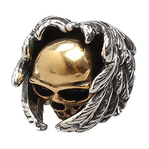 Anillo de hombres - SODIAL(R) anillo de joyeria para hombre y motorista, acero inoxidable, Craneo craneos ala gotico£¬ oro + plata, tamano 10