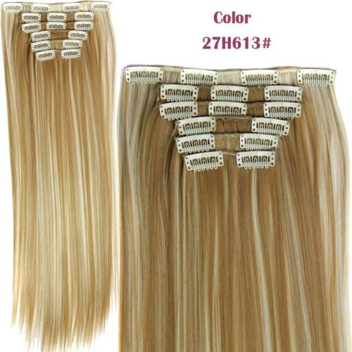 Hotqueen européen Clip en Extensions de cheveux humains Droit ombré Blond 27/613 # # 100 g Lot de 7