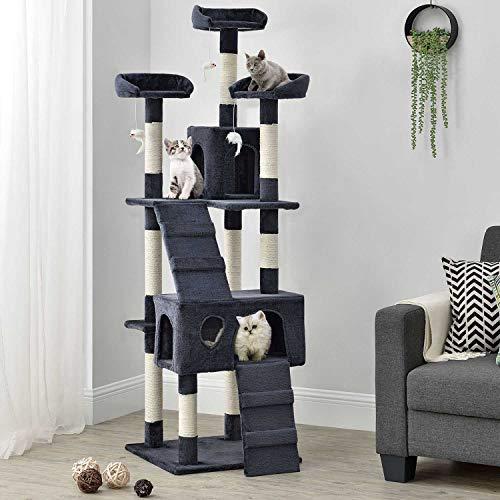Sam`s Pet Katzen Kratzbaum Amy | grau | 170 cm hoch | Katzenkratzbaum inkl. Höhlen, Liegeflächen, Treppen & Sisal | Katzenbaum Kletterbaum -
