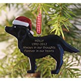 Dog Memorial Engraved Christmas Tree Decoration - Any Name Can Be Added (02 Black Dog)