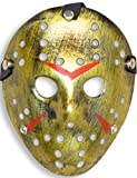 HomeTools.eu® - Halloween Maske   Kostüm Horror Hockey Myers Gesichts-Maske   Fasching, Karneval, Grusel-Kostüm Hockey-Maske Fratze   Shabby Gold
