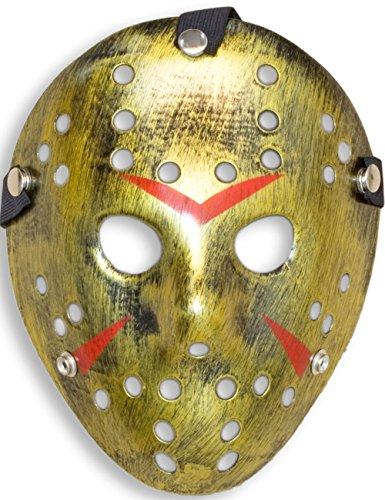 loween Maske | Kostüm Horror Hockey Myers Gesichts-Maske | Fasching, Karneval, Grusel-Kostüm Hockey-Maske Fratze | shabby gold (Hockey Maske Halloween Kostüm)
