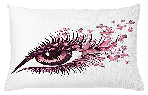 Nifdhkw Butterflies Throw Pillow Cushion Cover, Fairy Female Eye with Butterflies Eyelashes Mascara...