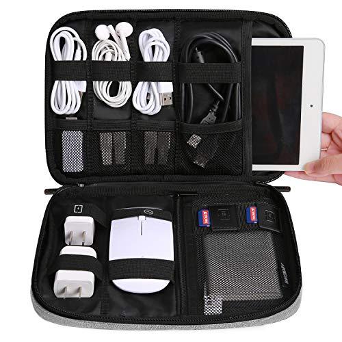 BAGSMART Elektronik Organizer Elektronische Tasche Reise für 7,9-Zoll Tablet, iPad Mini, Kabel, Ladegeräte, USB Sticks, SD-Karten, Grau (Elektronische Tasche)