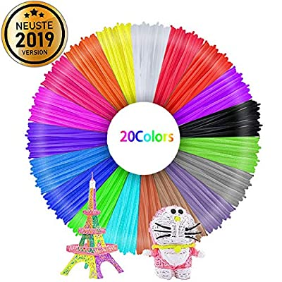 Filament 1.75 Pla, 3D Stift Filament, 3D Stifte Glühfaden PLA für 3D Stiften und Druckern 20 Farben Zufällige, je 1,75mm 10M TECHSHARE
