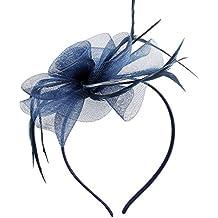 Diadema de Discoball con tocado elegante de plumas y flores, para bodas y otros eventos