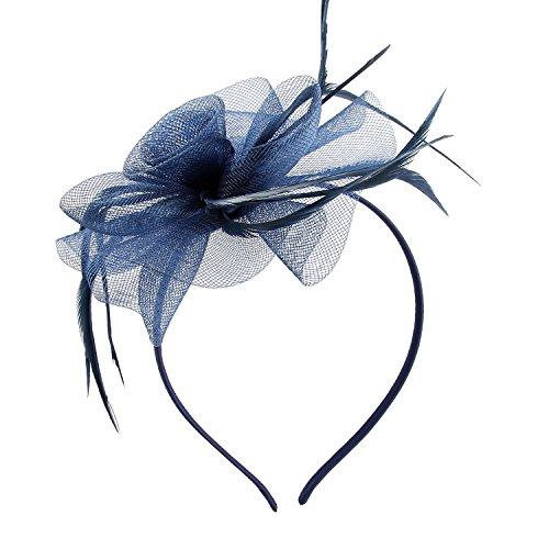 fascinator dunkelblau Haarschmuck Haarreif eleganter Fascinator mit Federn Blumen Kopfbedeckung Braut Hochzeit (Dunkelblau)