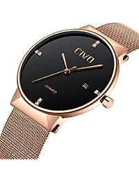 CIVO Men Ultra Thin Watches Stainless Steel Mesh Watch band Minimalist Date Calendar Wrist Watch Waterproof Business Luxury Casual Analog Quartz Dress Watch for Men (Rose Gold)