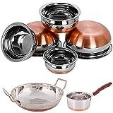 Sonigram Sauce Pan Copper Bottom - 1.5 Liter - With - Serving HANDI Set 5 Pcs. - Copper Bottom - 500ml, 750ml, 1250ml, 1900ml, 2500 Ml. - With - KADHAI 2 Liter - COPPER BOTTOM.