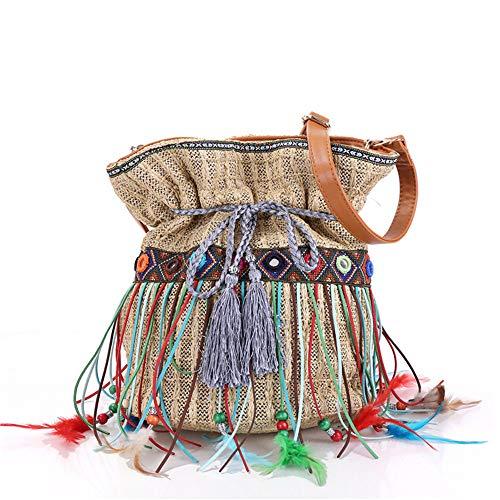 BAG Dame Strand Quaste Stroh Eimer Handtasche Gypsy Stil Frauen Tote Ethnic Schulter Tasche - Tote Stil Schulter Tasche