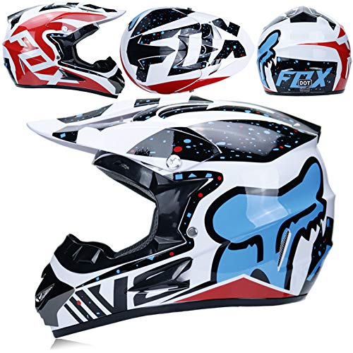 YUEYE Motorrad Motocross Motorradhelme Windschutzmaske Handschuhe SCHUTZBRILLE D.O.T Standard Kinder Quad Bike ATV Go-Kart-Helm Virtue,02,M - Kinder Blau Atv Helm