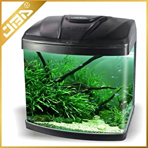 JBA 50L Medium Nano Starter Aquarium Fish Tank Tropical/Coldwater with Integrated LED Light – Free Fast Delivery (50 LITRE, BLACK)