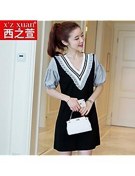 La versión coreana de la elegante chiffon camisa verano vestidos faldas,XXL,negro
