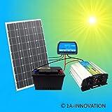 100W Solaranlage Komplettpaket 220V TÜV Komplettset Qualitäts 100Ah Akku wartungsfrei 100W Hochleistungs Solarmodul 1000W Qualitäts Spannungswandler