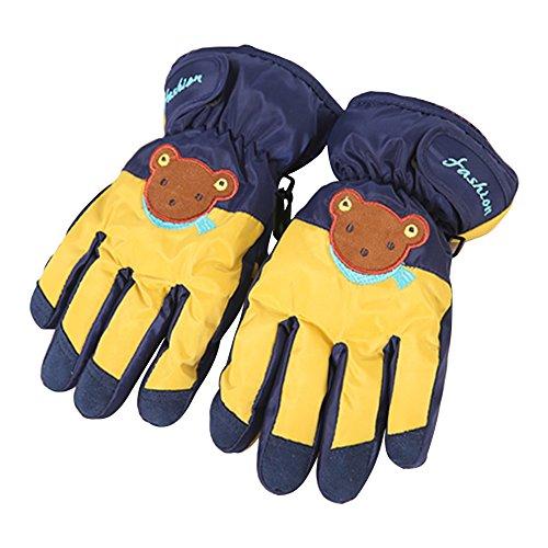 Eastlion Kinder Die Wasserdichte Karikatur Handschuh Mode Jungen und Mädchen warme Winter Handschuhe Ski Fahren,Stil 2 Dunkelblau-Gelb | 06654540441836