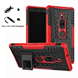 LiuShan Xperia XZ2 Premium Hülle, Dual Layer Hybrid Handyhülle Drop Resistance Handys Schutz Hülle mit Ständer für Sony Xperia XZ2 Premium Smartphone (mit 4in1 Geschenk Verpackt),Rot