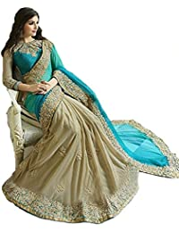 Dheylu Creation Women's Georgette And Lycra Embroidered Saree With Blouse Piece TFS1147_Turquoise And Beige_Free...