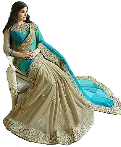 Roop Craft Lycra Saree With Blouse Piece (Rc29-S-196_Blue_Free Size)