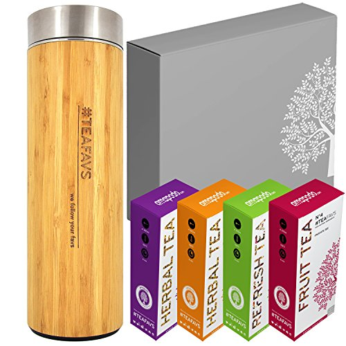 amapodo Thermobecher Tee Geschenkbox Set - Geschenk für Frauen & Männer, Geburtstag, Teeflasche 500 ml, Geschenkidee