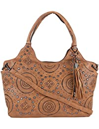 Fur Jaden Tan Embellished Handbag For Women