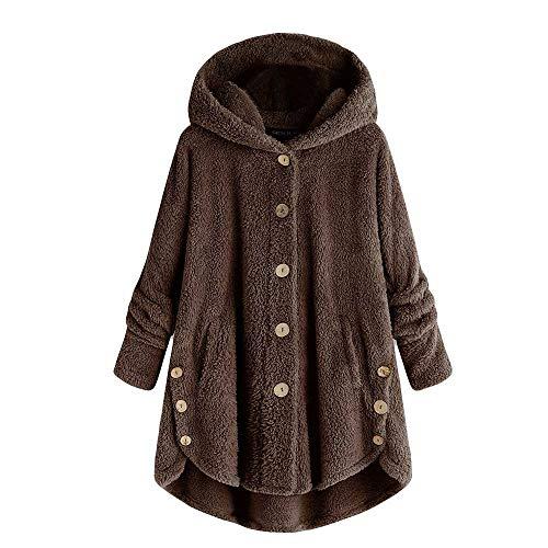 Knopf Vorne Pullover Kleid (MISSWongg Frauen Mantel Knopf flaumiger übersteigt mit Kapuze Pullover lose Strickjacke)