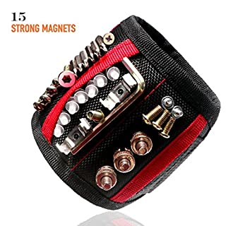 Azerogo Magnetic Wristband with 15 Strong Magnets for Holding Screws, Nails, Drill Bits - Best Unique Tool Gift for DIY Handyman, Father/Dad, Husband, Boyfriend, Men, Women (Black)