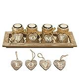 Kerzenhalter-Set / Kerzenleuchter mit 4 WANDELBAREN Teelichthaltern in Dekoschale inkl. HOME- und LOVE-Herzen, Natursteinen, Teelichtern