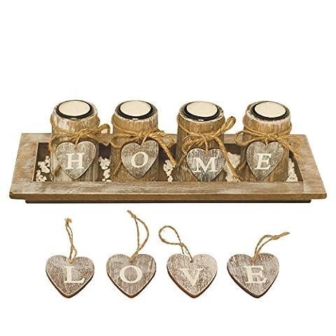 Kerzenhalter-Set / Kerzenleuchter mit 4 WANDELBAREN Teelichthaltern in Dekoschale inkl. HOME- und LOVE-Herzen, Natursteinen,