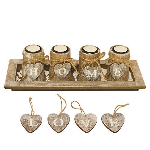 Kerzenhalter / Teelichthalter mit 4 WANDELBAREN Teelichthaltern in Dekoschale inkl. HOME- und LOVE-Herzen, Natursteinen, Teelichtern