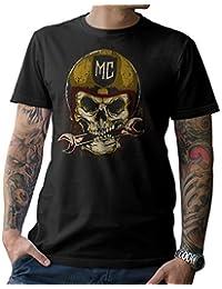 Moto Camiseta t-Shirt Calavera de Motocicleta Atornillador Roquero MC Talla S M L XL XXL 3XL