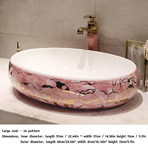 Waschbecken Einfache rosa Stil Waschbecken Keramik Über Theke Waschbecken Oval Home Art Square Badezimmer Waschbecken klein oval -