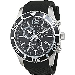 Nautica Men's Quartz Watch with Black Dial Chronograph Display and Black Stainless Steel Strap A15102G
