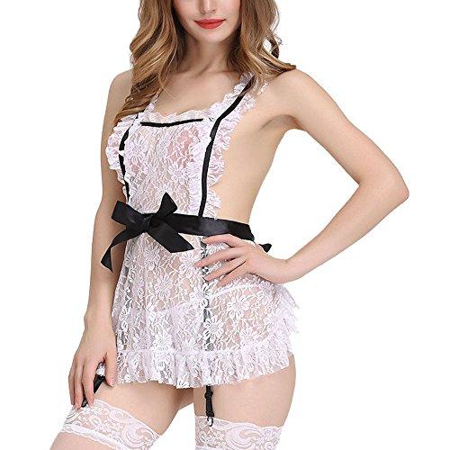 Mwanle Sexy unterwäsche dessous set Hausmädchen Dienstmädchen Kostüm French Maid Fasching mit G String und Strümpfe Mit schwarzen Strümpfen