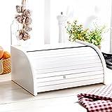 Panera de madera con puerta enrollable para guardar 30 tipos de panes, una gran elección, madera, Blanco, Small